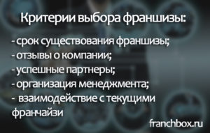 Критерии открытия франшизы